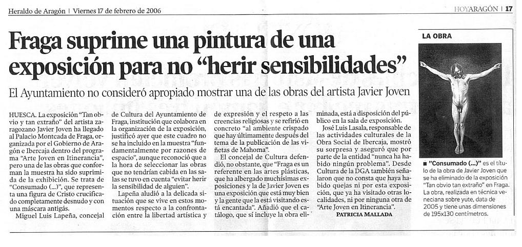 """Fraga suprime una pintura de una exposición para no """"herir sensibilidades"""""""