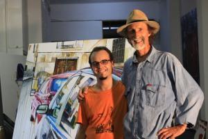 Javier Joven con Arthur Brown, en el estudio