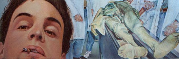 """""""Autorretrato con cadáver"""", óleo/tabla entelada, 45x100 cm"""