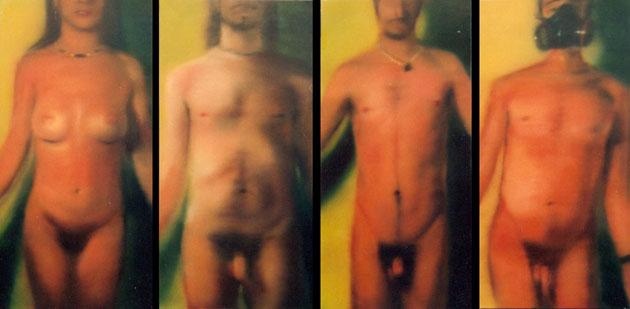 """""""Orantes"""", políptico. óleo/lienzo,100x50 cm"""