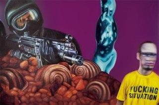 """""""Autorretrato en Asunción"""", óleo/lienzo, 100x150 cm"""