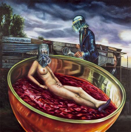 """""""Olimpia, cocinada por su madre en el Bañado"""", óleo/lino, 165x165 cm"""