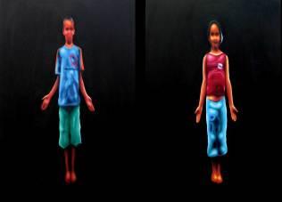 """""""Ayvú"""", díptico, óleo/lienzo, 150x100 cm c.u."""