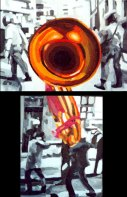"""Baile usted"", díptico, óleo/tabla, 45x45 cm"