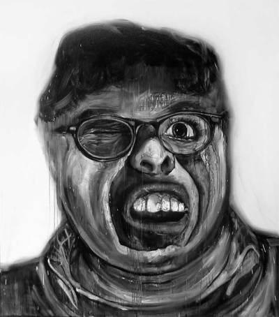 """Freak portrait"", acrílico y alquídico/lienzo, 200x200 cm"
