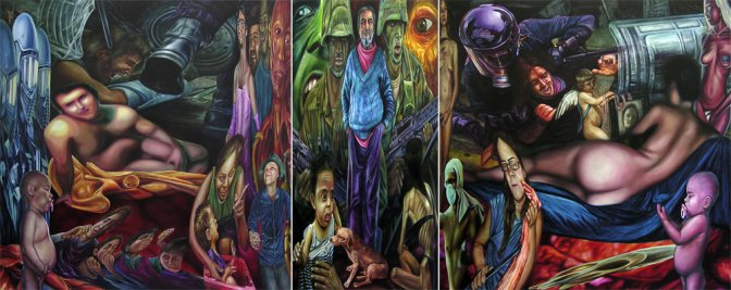 """Homenaje a Bañado Sur"", tríptico, óleo/lienzo, 200x500 cm (conjunto)"