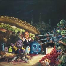 """""""Los fusilamientos de la margen izquierda"""", óleo/lino, 200x200 cm"""