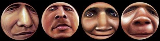 """""""Desfigurados I"""", políptico, óleo/lienzo, 40 cm (diámetro) c.u."""