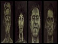 """Desfigurados II"", políptico, acrílico y óleo/lienzo, 140x40 cm c.u."