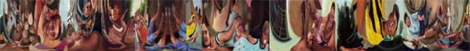 """Desplazamientos"", políptico, óleo/lino, 30x40 cm c.u."