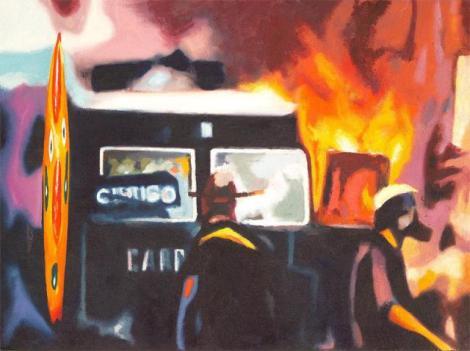 """En vela (Inflamable)"", óleo sobre lienzo, 73x92 cm."