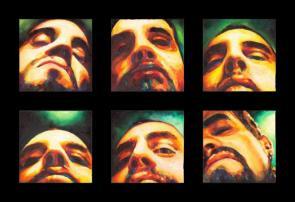 """""""Seis estudios para un rostro"""", políptico, mixta/yute, 40x40 cm c.u."""