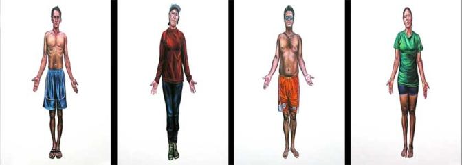 """Serie """"Ñe´e"""", políptico, acrílico y óleo/lienzo, 150x100 c.u."""