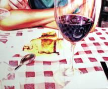 "S/T, serie ""In vino veritas, acrílicos/lienzo, 50x60 cm"