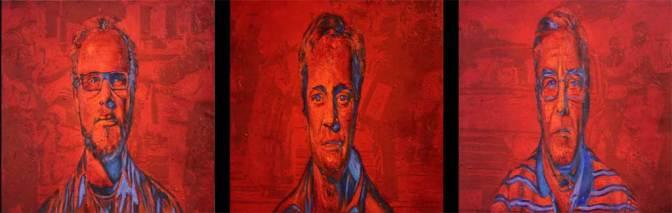 """""""Egipto,Argelia,Libia"""", tríptico, óleo/tabla, 50x50 cm cada pieza"""