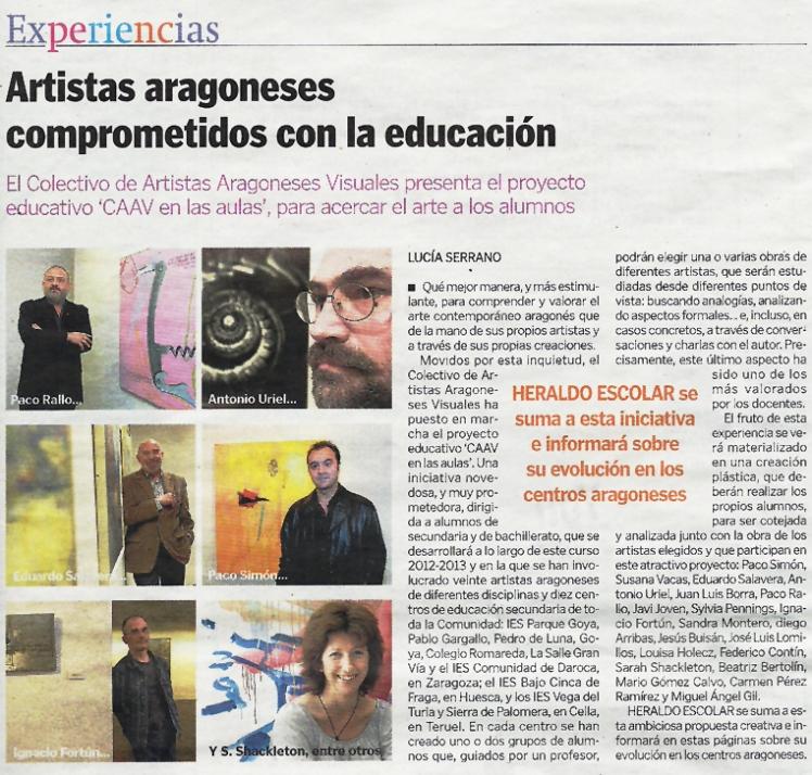 Artistas aragoneses comprometidos con la educación