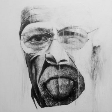 """Política"", acrílico/lienzo, 150x150 cm"