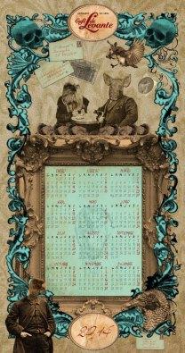 Calendario para el Café de Levante 2014, impresión digital, 26x50 cm