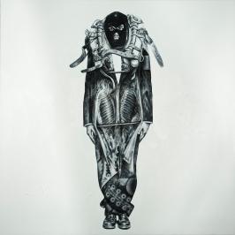 """""""Retrato del artista con collera como cerdo vaciado"""", 2017. Óleo sobre lienzo, 200×200 cm. (Fotografía: José Garrido Lapeña)"""