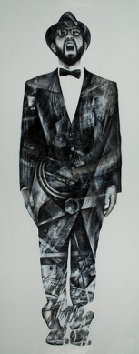 """Grito hueco"", óleo sobre madera, 200×80 cm. (Fotografía: José Garrido Lapeña)"
