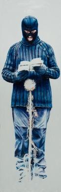 """""""Sinfonía de la armonía de las revelaciones celestiales para cardo"""", 2011-2017, óleo sobre lienzo, 140×45 cm. (Fotografía: José Garrido Lapeña)"""