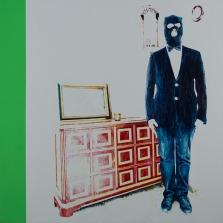 """""""No acción junto al taquillón de Theodor"""", acrílico sobre lienzo, 150×150 cm (Fotografía: José Garrido Lapeña)"""