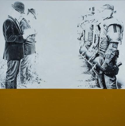 """Foucault para policías"", 2012-2017, óleo sobre lienzo, 162×162 cm (Fotografía: José Garrido Lapeña)"