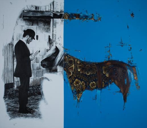 """""""Temor y temblor para poni"""", acrílico sobre lienzo, 170×195 cm. (Fotografía: José Garrido Lapeña)"""