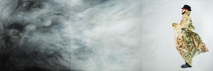 """""""El profeta y la nada"""", tríptico, acrílico/lienzo, 200×600 cm., 2017. (Fotografía: José Garrido Lapeña)"""