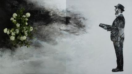 """""""Fantin Latour para árbol del caminante artificial"""", 2017. Acrílico sobre lienzo y flores artificiales, díptico. 146×260 cm. (Fotografía: José Garrido Lapeña)"""