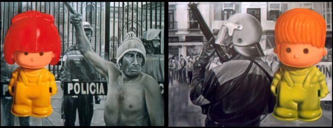 """Javier Joven, """"¡Pin, pon!"""", díptico, óleo/lienzo, 89×116 cm c.u. (2002)"""